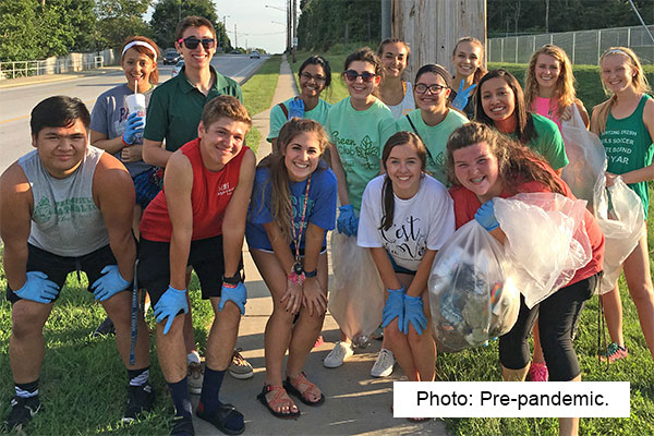 clean up team of 15 youth